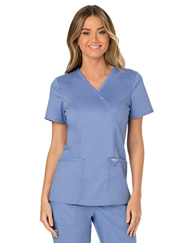 Cherokee WW Revolution WW610 Mock Wrap Top Ciel Blue XL (2 Pocket Mock Wrap)