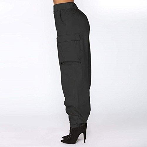 Streetwear Vita Pantaloni Con A Abbigliamento Pantalone Chic Solidi Moda Hippie Ragazza Button Elastico Sportivi Donne Alta Sciolto Nero Donna Colori EqxwvBAtA