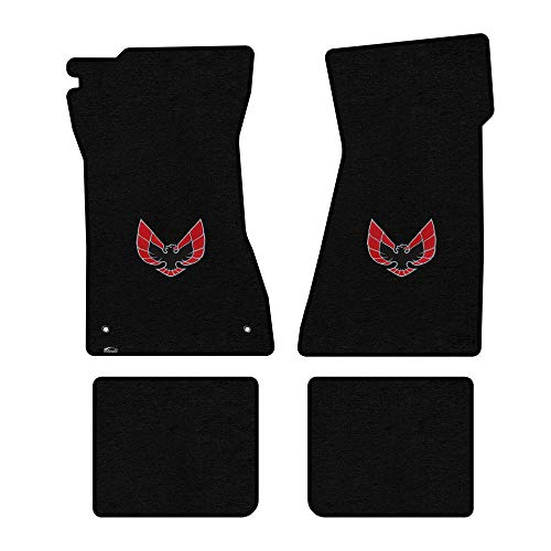 Lloyd Mats LogoMat Custom Floor Mats - Pontiac Firebird & Trans Am 1970-1981 4Pc Front & Back Set Carpeted Custom Fit Mats, Black - Fits Model Years 1970-1981.