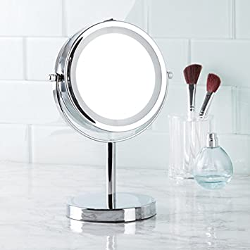 Amazon Com Mdesign Lighted Free Standing Vanity Makeup Mirror For