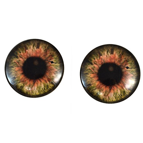 40mm Pair of Large Brown Steampunk Glass Eyes, for Jewelry making, Arts Dolls, Sculptures, and More by Megan's Beaded Designs