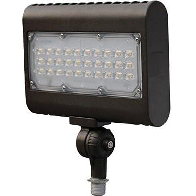"""Morris 71557 50W 5000K LED Flat Panel Flood Light with 1/2"""" Adjustable Knuckle Mount, 4755 lm, 120-277V, Bronze"""