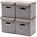 VelVeeta Linen Fabric Foldable Basket Cubes With Lid ,Brown (Set Of 4)