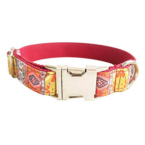 MoAndy Premium Ployester Adjustable Dog Collar with Metal Buckle Red Bohemia Size L Collar for ()