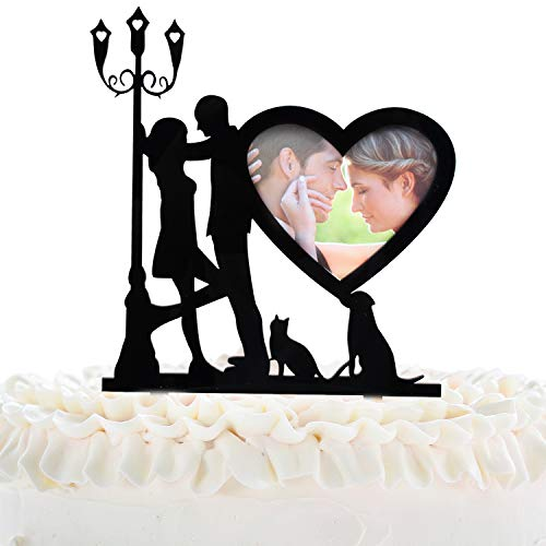 Wedding Cake Topper - Sweet Love Photo Frame Cake Picks Décor - Vow Renewal Bridal Shower Party Supplies - Silhouette Lovers Under The Street Lamp Decorations