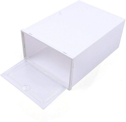 20 St/üCk Faltbare Schuhbox Stapelbare Clear Kunststoff Schuh Aufbewahrungsboxen Faltbare Aufbewahrung Home Organizer Wei/ß