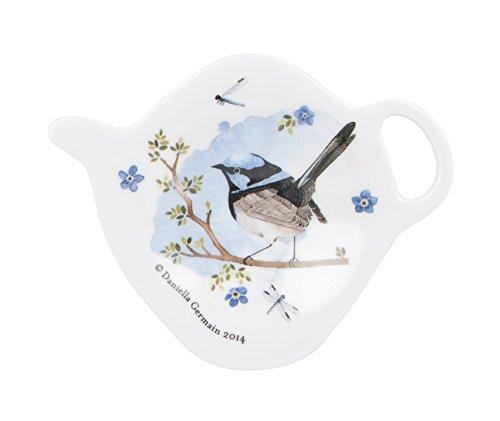 Ashdene Plume & Perch Blue Wren Tea Bag Holder 3 Inches High by 3 3/4 Inches Long (Melamine Tea Bag Holder)