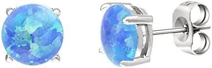 18K White / Gold Sterling Silver Opal Stud Post Earrings