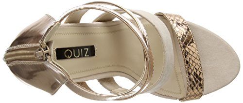 Quiz Patent Multi Strap Block - Zapatos Mujer Gold (Rose Gold)