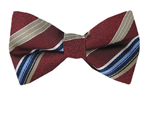 B-PBT-11121 Boys Pre-Tied Bow Tie Burgundy Taupe Blue (Bow Taupe)