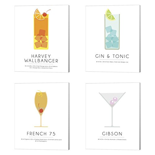 French Gin - Harvey Wallbanger, Gin And Tonic, Gibson & French 75 by Studio Grafiikka, 4 Piece Canvas Art Set, 8 X 10 Inches Each, Cocktail Word Art