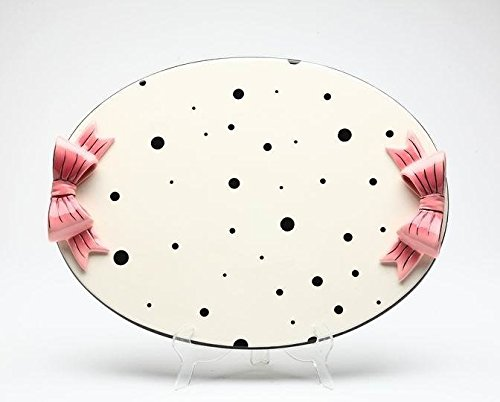 (13 5/8 Inch White and Black Polka Dotted Tray with Pink Ribbon Handles)