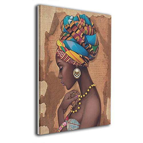 Absonne Canvas Wall Art African Yellow Ethnic Necklace Streched and Framed Paintings Picture for Home Decorations Wall Decor