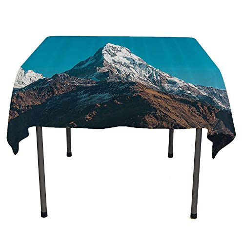 Apartment Decor Collection Outdoor Tablecloth Photo of Himalayan Mountains Snowy Peak Nepal South Asian Nature Landscape Photo All Weather Outdoor Table Cloth Spring/Summer/Party/Picnic 54 by 54 ()
