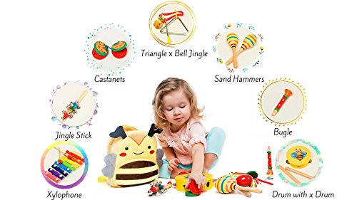 Musical Toys - Musical Instrument - Music Set - Baby Musical Instruments - Music Toys - Musical Toys for Girls & Boys - Musical Play Set – Premium Gift Musical Set 17Pcs with Cute Carrying Bee Bag by Sabuzza Toys (Image #6)