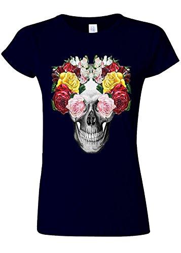 用心沼地オレンジFloral Skull Roses Vintage Novelty Navy Women T Shirt Top-S