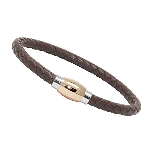 Unisex Men's Genuine Leather Stainless Steel Magnetic Clasp Bracelet Brown (16 - Tube Magnetic Rose Gold) - Leather Rose Bracelet