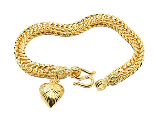 Classic Thai Style Bracelet 7 Inch with Heart Charm 24k Gold Plated Jewelry ()