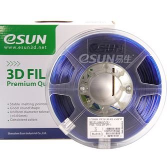 eSUN 3D 1.75mm PETG Blue Filament 1kg (2.2lb), PETG 3D Printer Filament, 1.75mm Semi-Transparent Blue
