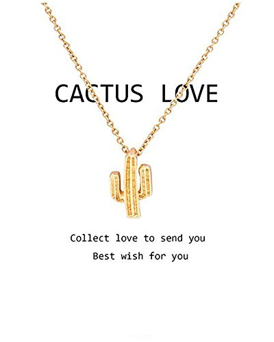 Saguaro Cactus (Hanloud Gold Love Cactus Pendant Necklace Saguaro Charm Clavicle Chain Necklace For Women and Girl)