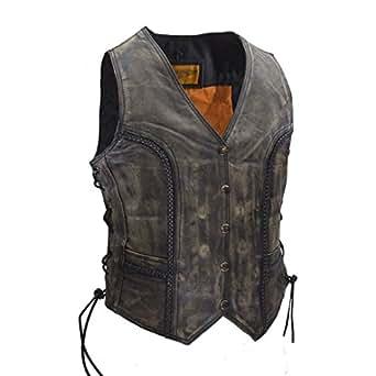 Women's Longer Cut Distressed Brown Leather Motorcycle Vest (S, Brown)
