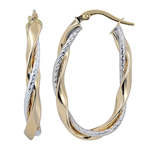 14k Two-Tone Gold High Polish And Textured Twisted Oval Hoop Earrings
