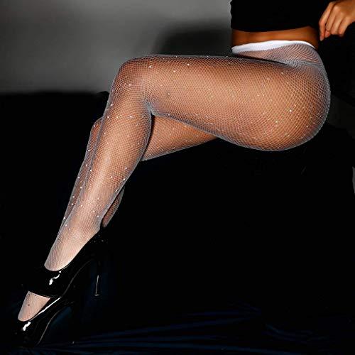 LvShui 3 Pair Women's Sexy Pantyhose Sticky Diamond Fishnet Leggings Socks White