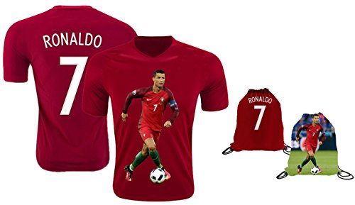 Ronaldo Jersey Style T-shirt Kids Cristiano Ronaldo Jersey Portugal T-shirt Gift Set Youth Sizes ✓ Premium Quality ✓ ✓ Soccer Backpack Gift Packaging (YS 6-8 Years Old, Ronaldo)