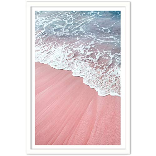 Humble Chic Framed Wall Decor - Fine Art Picture Poster Prints in White Frame for Home Decorations Living Dining Room Bedroom Kitchen Bathroom Office - Pink Sand Beach Waves, 24x36 Vertical
