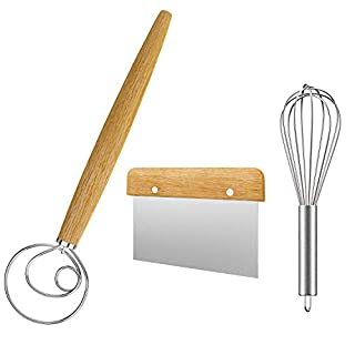 Acerich 13.5 Inch Stainless Steel Danish Dough Whisk Dutch Dough Whisks Bread Whisk 3 Pack