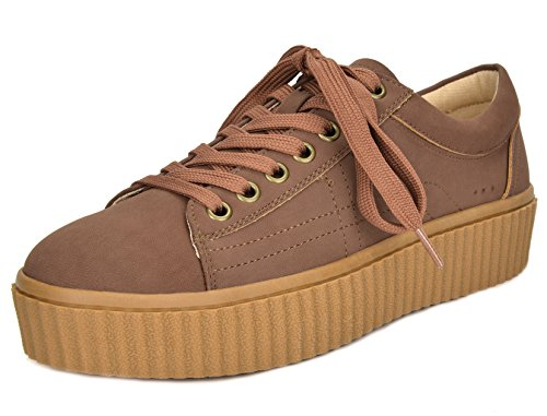 TOETOS Women's REINNA-01 Tan Lace Up Platform Sneakers Shoes - 5.5 M US -
