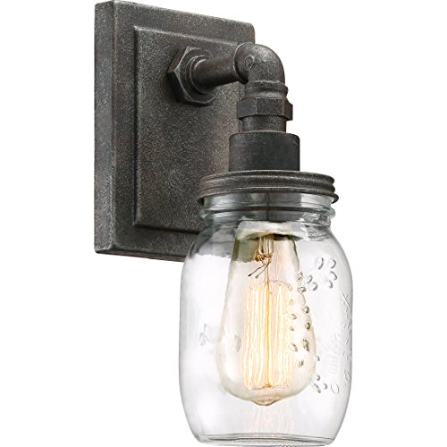 Quoizel SQR8701RK Squire Industrial Rustic Vanity Wall Lighting, 1-Light, 100 Watt, Rustic Black 12 H x 5 W