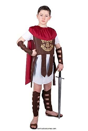 Gladiator Costume Kids, Roman Soldier Centurion, Boys 7-8 Years, Large -