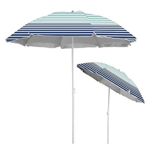 Caribbean Joe CJ-UV72HS Beach Umbrella UV Protection with Color Matching Carry case, Stripe, 6'