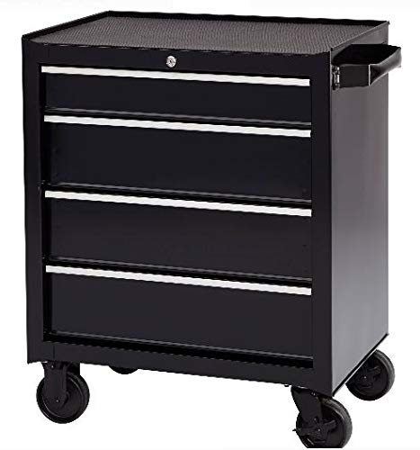 Rolling Tool Cabinet Storage – Ball-Bearing 4-Drawer Metal Tool Chest – Great For Garage, Tattoo Artists, Nail Art Station, Warehouse, Living Room – Store Mechanics Tools, Equipment, Supplies