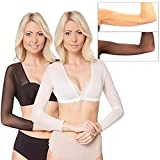 succeedtop Women's Bottoming Shirt Blouse Tops New Plus Size Seamless Arm Shaper Short Cropped Navel Mesh Cardigan Hot Perspective Cardigan Shaping Underwear (M, White)