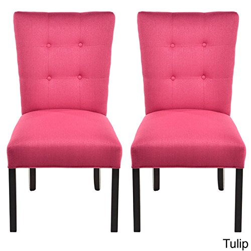 Cheap Sole Designs La Mode Collection Fanback Dining Chair, 4 Button Stitched Side Chair, Tulip (Set of 2)