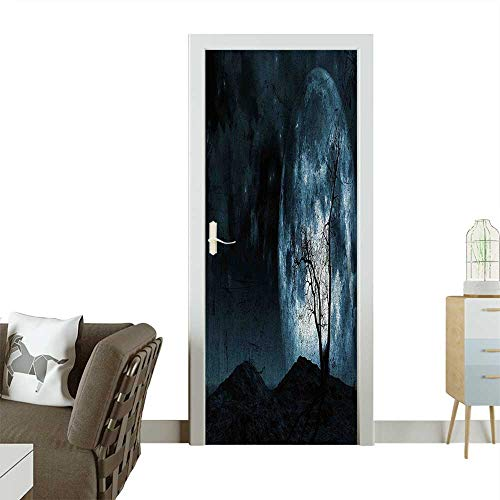 Door Sticker Wall Decals Moon Sky with Tree Silhouette Gothic Halloween Colors Scary Artsy Background Slate Blue Easy to Peel and StickW31 x H79 INCH -