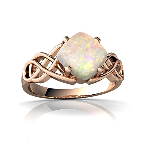 14kt Rose Gold Opal 6mm Cushion Celtic Knot Ring - Size 5 by Jewels For Me