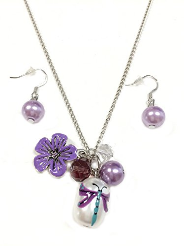 Linpeng Fiona Hand Painted Dragonfly Glass Bead, Crystal Pearl Beads, Flower Charms Necklace and Earrings Set, Violet Hand Painted Flower Beads