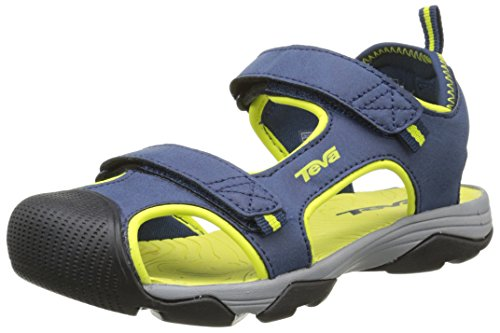 Teva Toachi Closed Toe Sandal (Little Kid/Big Kid), Navy/Lime-T, 2 M US Little Kid