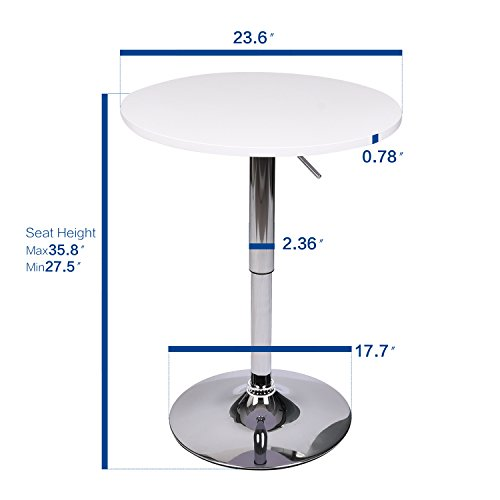 35 Inches Round Bar Table Adjustable Height Chrome Metal and Wood Cocktail Pub Table MDF Top 360°Swivel Furniture (White 1) by PULUOMIS (Image #3)