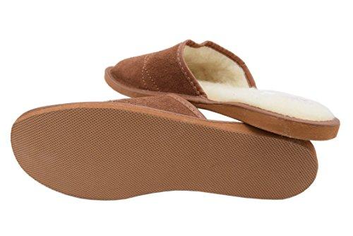 Pantoffeln Wildleder Schafwolle Mens und Natleat Leather Slippers Natural Hausschuhe fxSawnqv06