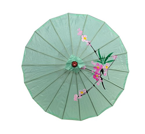 JapanBargain S-2176, Kid's Size Chinese Japanese Oriental Parasol Umbrella 22-inch, Green Color