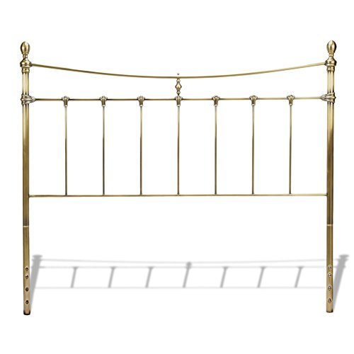 Leighton Metal Headboard with Rounded Posts and Scalloped Castings, Antique Brass Finish, Queen - Fashion Bed Metal Headboard