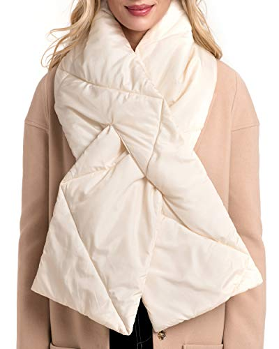 Quilted Scarf - MIRMARU Women's Winter Soft Warm Padding Scarf Polyfill Quilted Oblong with Tap Slit Fastening (Ivory)