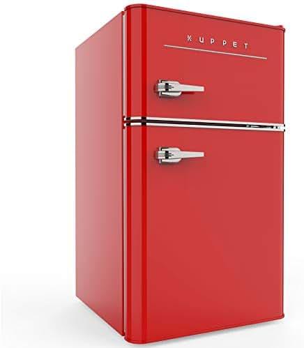 KUPPET Retro Mini Refrigerator 2-Door Compact Refrigerator for Dorm, Garage, Camper, Basement or Office, 3.2 Cu.Ft (Red)