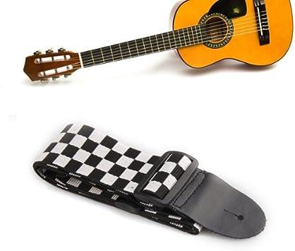 Correa ajustable cuadros negro blanco para guitarra eléctrica acústica