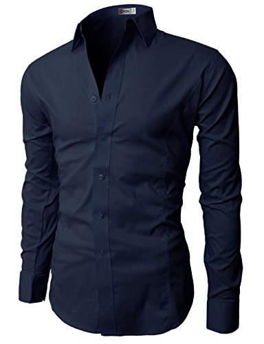 (H2H Men's Wrinkle Free Slim Fit Dress Shirt with Solid Long Sleeve, Navy, Asia XXL/US L)