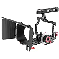 Neewer Film Movie Making Camera Video Cage with 15mm Rail Rods Matte Box, Follow Focus with Gear Ring Belt for Sony A7 A7S A7SII A7R A7RII A7II A6000 A6300 A6500 Panasonic GH4 GH3 Cameras (Red+Black)
